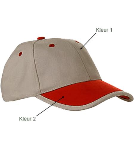 <B>Caps met kleur klep en rankje</B>